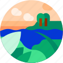 beach, circle, flat icon, island, landscape, tourism, tropical icon