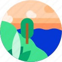 beach, circle, flat icon, lake, landscape, trees, tropical icon