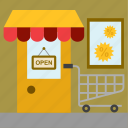 business, cart, entrance, sales, shop, shopping, store icon