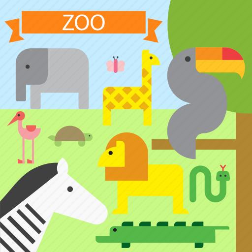 animal, animals, lion, toucan, wild, zebra, zoo icon