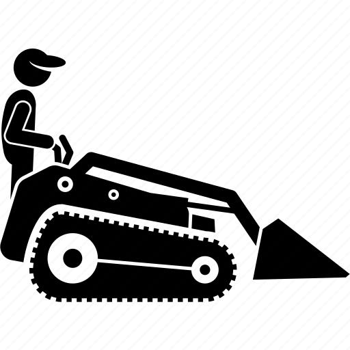 agriculture, garden, landscaping, mini loader, person, vehicle, worker icon