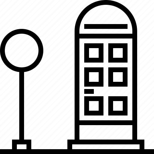 flashlight, telephone booth icon