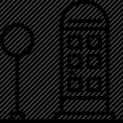 flashlight, telephone booth icon