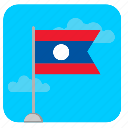 clouds, flag, laos, sky, stand icon
