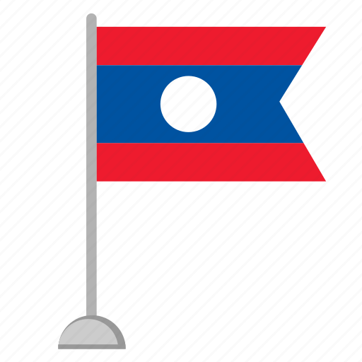 colors, flag, laos, national, stand icon