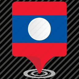 flag, laos, map, pointer icon