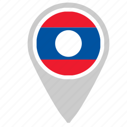 country, flag, laos, location, point, pointer icon