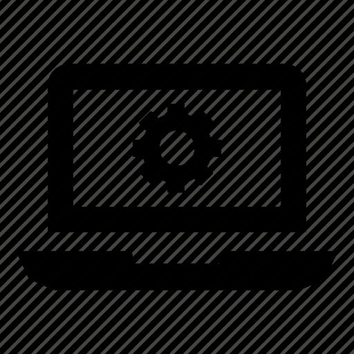 cog, device, gear, laptop, laptop computer, laptop screen, settings icon