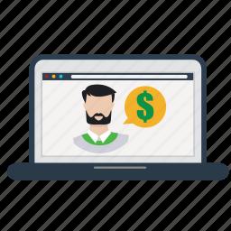 buy, laptop, money, online, question, shop, store icon
