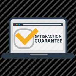 accept, good, guarantee, laptop, satisfaction, satisfaction guarantee, warranty icon