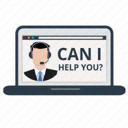 customer service, help, information, laptop, online, service, support icon