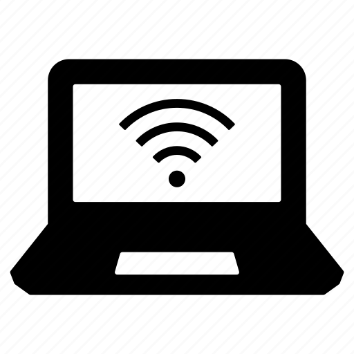 computer, laptop, laptop wifi, macbook, portable computer, wifi, wifi signal icon