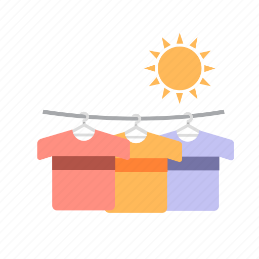 clean, drying clothes, hot, laundry, sun, wash icon