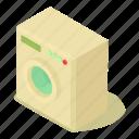 clean, isometric, laundry, machine, object, wash, washing