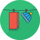cap, clothes, dry, hang, laundry, scarf, washing icon