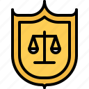 court, justice, law, lawyer, protection, shield icon