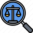 court, justice, law, lawyer, magnifier, search icon