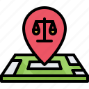 court, justice, law, lawyer, location, map, pin