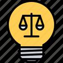 bulb, court, idea, law, lawyer, light, scales