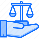 court, hand, justice, law, lawyer, scales icon