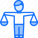 court, justice, law, lawyer, man, scales icon