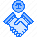 court, deal, hand, handshake, justice, law, lawyer icon
