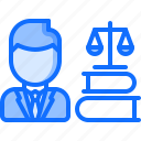 book, court, justice, law, lawyer, scales icon