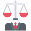 court, justice, law, lawyer, man, scales, suit icon