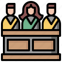 jury, justice, law, miscellaneous, people, security, trial icon