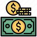business, cash, change, coins, currency, money, stack icon