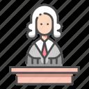 attorney, court, judge, judgment, justice, law, verdict icon