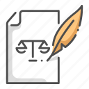 agreement, justice, law, lawyer, legal, pen, writing icon