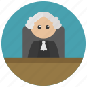 bench, court, court room, courtroom, judge, law, wig icon