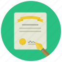 court, decision, judgment, law, sentence, signature, vertict icon