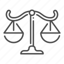 balance, court, judgment, justice, law, scales icon
