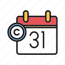 calendar, copyright, date, expire, expiry icon