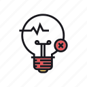 concept, fake, idea, lightbulb, reject, rejected, wrong icon