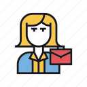 attorney, businesswoman, female, lawyer, representative, suitcase, woman icon