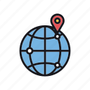 geographical, geolocation, global, globe, indication, location, restriction icon