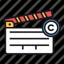 copyright, film, motion, movie, picture icon