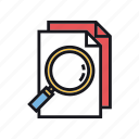 copy, documents, duplicate, glass, magnifying, paste, plagiarism icon
