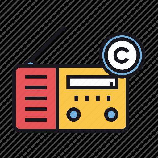 Broadcast, copyright, radio, communication, media icon - Download on Iconfinder