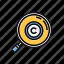 copyright, data, license, records, registration, search icon