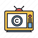 broadcast, channel, copyright, episode, television, tv, vintage icon