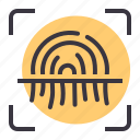 biometric, fingerprint, id, protection, safety, scan, security icon