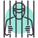 bar, jail, prison, prisoner, suspect, thief icon