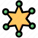 badge, cop, justice, marshall, police, sheriff, star icon