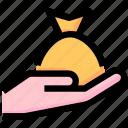 bag, corruption, hand, money, suck icon