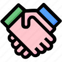 agreement, celebrate, deal, hands, justice, law, shake icon