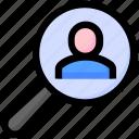 justice, magnify glass, person, search icon